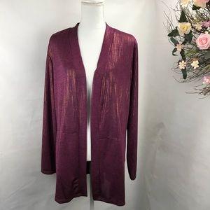 Susan Graver long cardigan Sweater metallic print